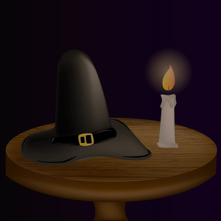 wooden hat: an isolated wooden table with a black hat and a candle with fire Illustration