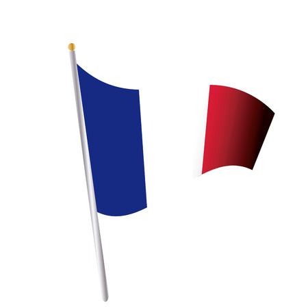 french flag: an isolated french flag on a white background