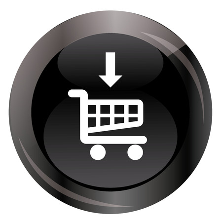american downloads: a black round button with a shopping cart icon and an arrow for black friday Illustration