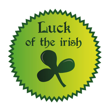 a green label with text and a clover for patricks day Vector