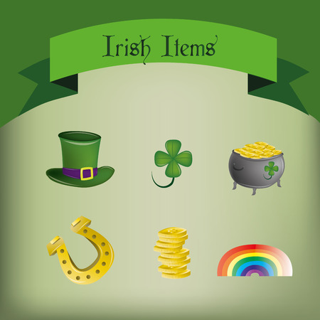 a green background with a set of traditional elements for patricks day Vector