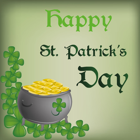 a green background with text, clovers and a money pot for patricks day Vector