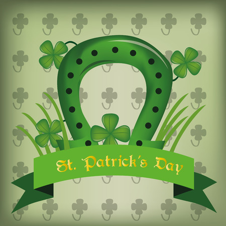 a green background with a ribbon with text, a horseshoe and clovers for patricks day Vector