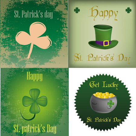 a set of backgrounds and labels with different elements for patricks day Vector