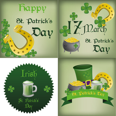 a set of different backgrounds and labels for patricks day Vector