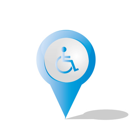 an isolated blue pin with a disabled person icon inside it Vector