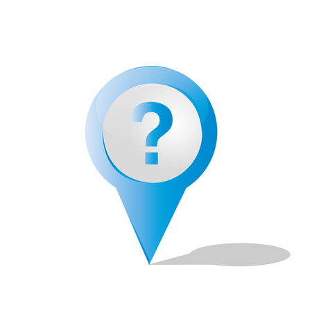 question icon: an isolated blue pin with a question icon inside it Illustration