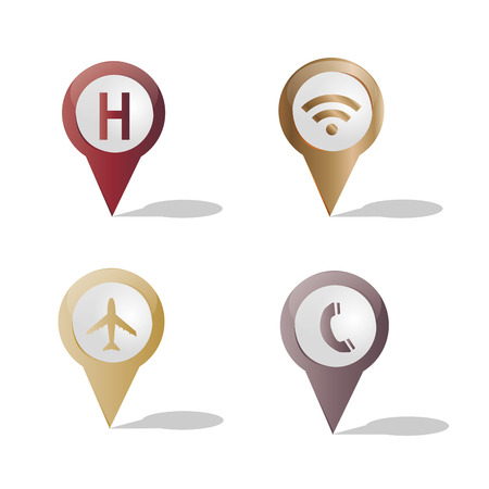 a set of colored pins with different icons Vector