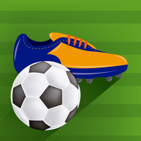 soccer shoes: a soccer ball and soccer shoes on the field