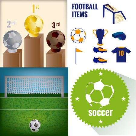 a set of labels and backgrounds with different soccer items Vector
