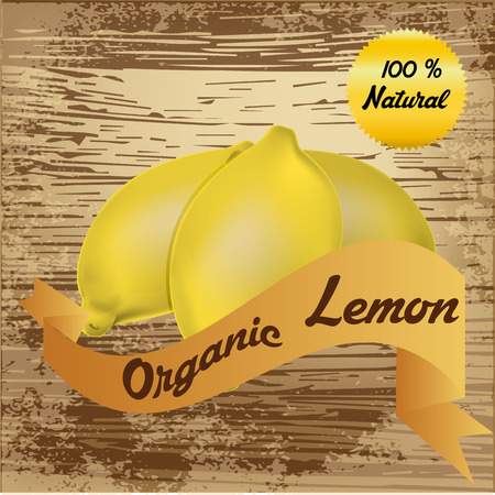 an isolated group of lemons and a ribbon with text on a wooden background Vector