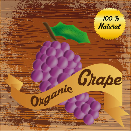 an isolated grapes and a ribbon with text on a wooden background Vector