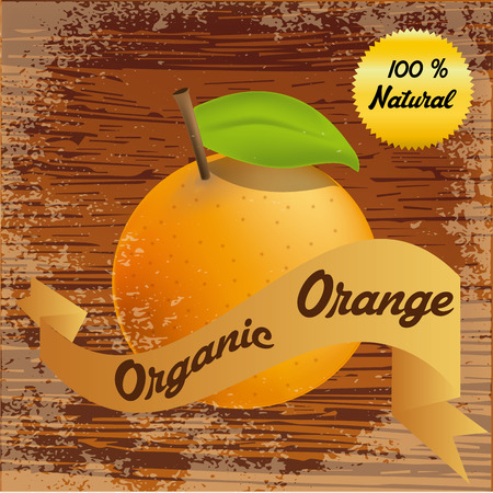 an isolated orange and a ribbon with text on a wooden background Vector