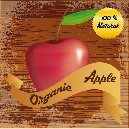 an isolated red apple and a ribbon with text on a wooden background Vector