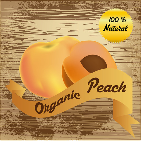 an isolated peach and a ribbon with text on a wooden background Vector