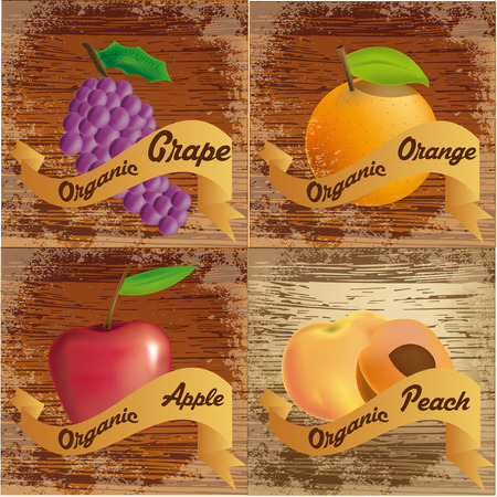a set of organic products on wooden backgrounds Vector