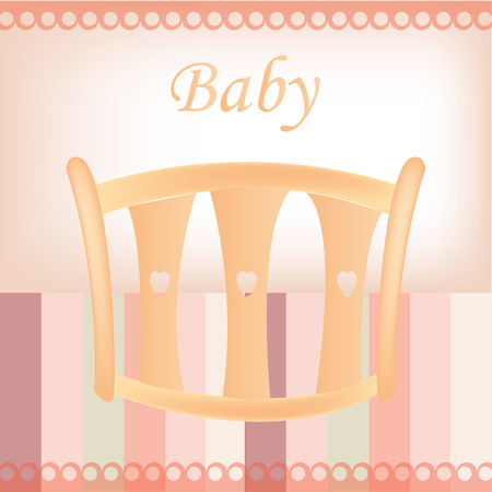 baby on chair: a colored background with a baby chair and text Illustration