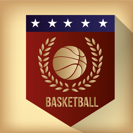 a red label with a basketball ball, text and a laurel wreath Vector