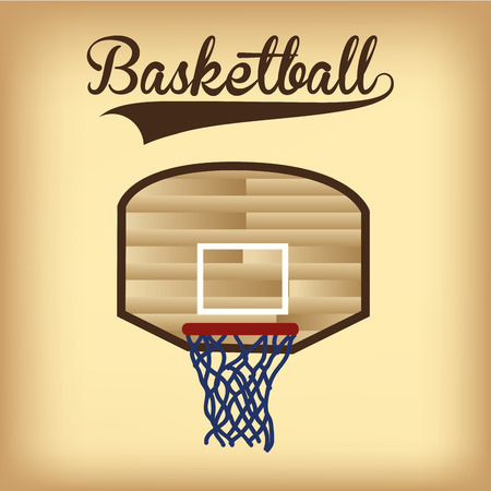basketball net: an isolated basketball net and text on a colored background