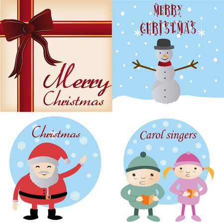 a set of backgrounds and labels with different christmas items and text Vector