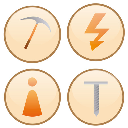a set of construction labels with different construction icons Vector