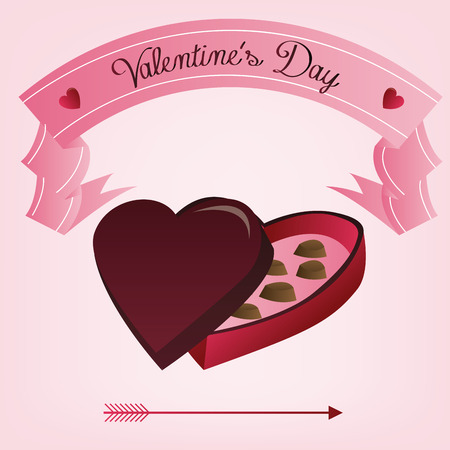 candy box: a pink background with a ribbon with text and a candy box for valentines day