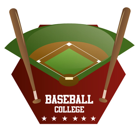 baseball field: an isolated label with a baseball field, a pair of wooden bats and text
