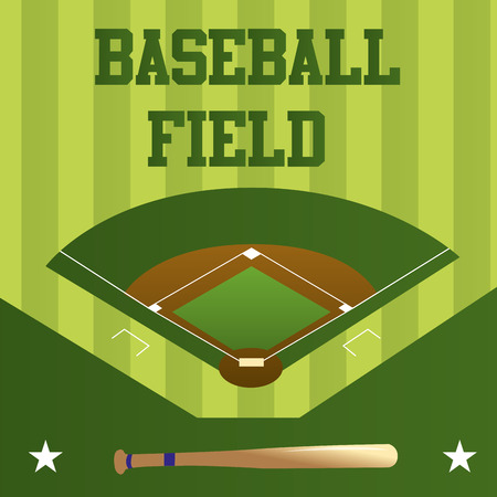 a green background with a baseball field, text and a wooden bat
