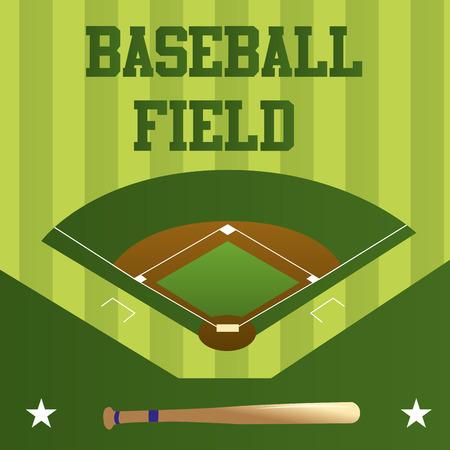 campo de beisbol: un fondo verde con un campo de béisbol, el texto y un bate de madera