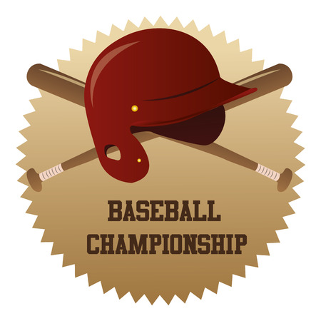 baseball hat: an isolated label with a baseball hat and a pair of baseball bats Illustration