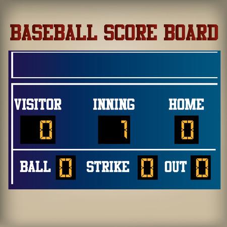 score board: a blue baseball score board on a brown background
