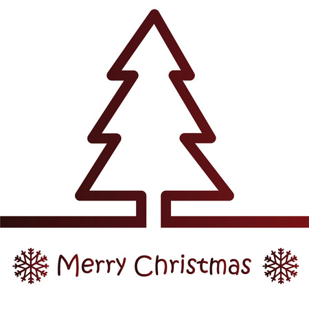 a red christmas tree on a white background with text Vector