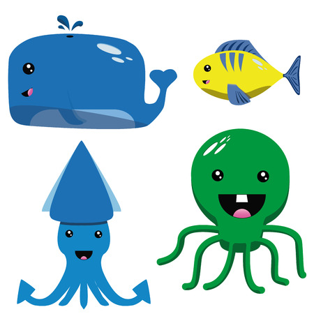 a set of four happy animals on a white background Vector