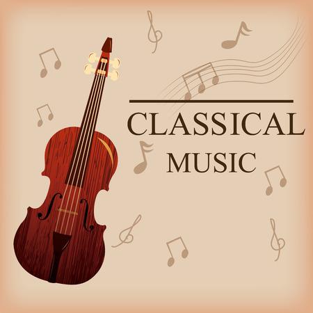 pentagramma musicale: uno sfondo colorato con testo, un violino e note musicali Vettoriali