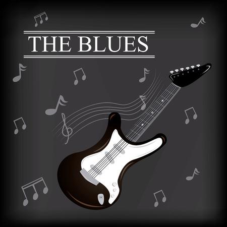 pentagramma musicale: uno sfondo colorato con una chitarra elettrica, testo e note musicali