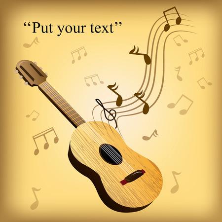 pentagramma musicale: una chitarra di legno isolato su uno sfondo colorato con note musicali