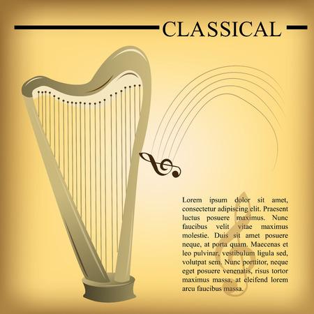 pentagramma musicale: uno sfondo giallo con testo e arpa Vettoriali