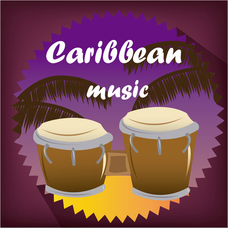 bongos: a pair of congos on a colored label with text and palm trees
