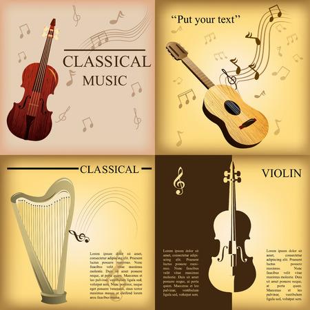 pentagramma musicale: un insieme di sfondi colorati con diversi strumenti musicali