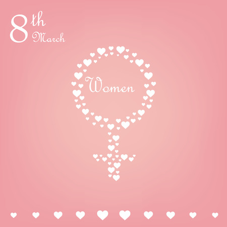 composing: a pink background with text and a lot of hearts composing a womens sign