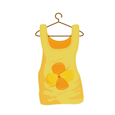 yellow shirt: an isolated yellow shirt for summer season on a white background Illustration