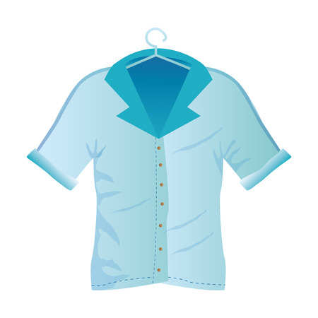 blue shirt: an isolated blue shirt for men on a white background Illustration