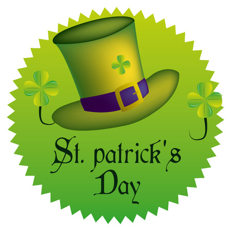 a green label with a traditional hat, text and clovers for patricks day Vector