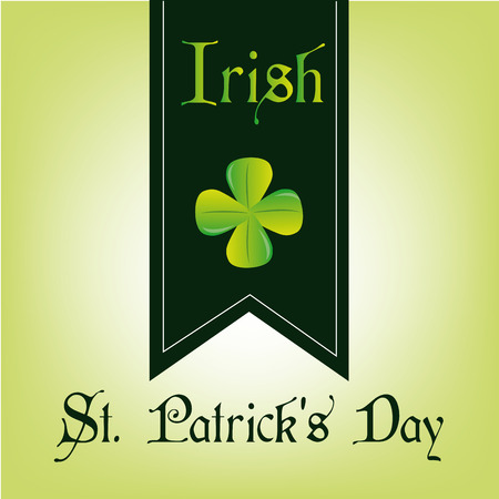 a green background with a green banner, text and a clover Vector