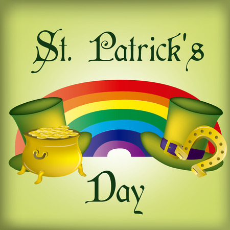 a green background with a lot of traditional elements for patricks day Vector