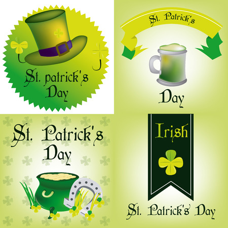 the irish image collection: a set of colored backgrounds and labels with text and different elements for patricks day