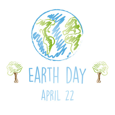 concept day: a white background with a children sketch of earth, text and a pair of trees