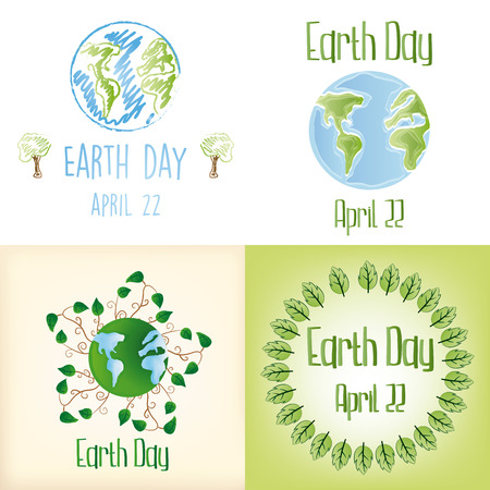 a set of backgrounds and labels with our planet and different elements for earth day Vector