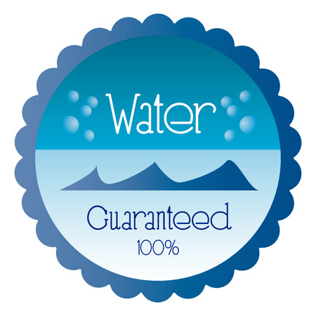 organic fluid: a blue round label with text and water bubbles