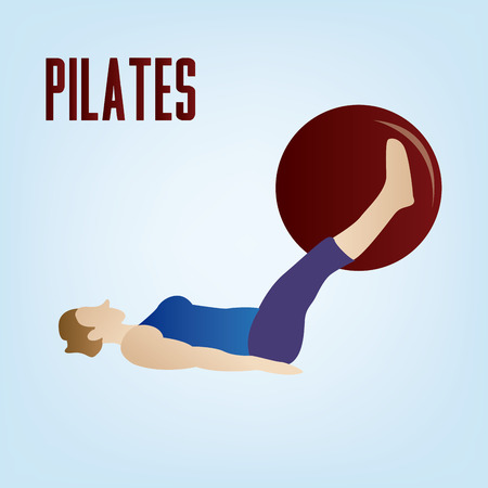 """pilates ball"": a blue background with text and an isolated woman doing pilates"